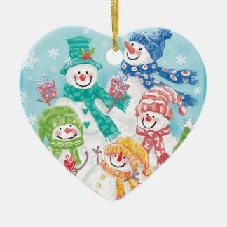 Enfeites de natal da família do boneco de neve