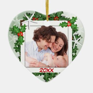 Enfeites de natal da foto de família do coração da