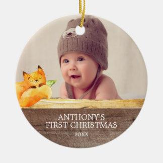 Enfeites de natal da foto do bebê bonito do Fox øs