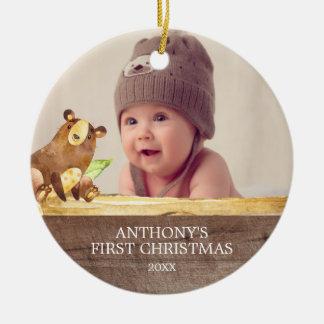 Enfeites de natal da foto do bebê bonito do urso