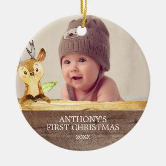 Enfeites de natal da foto do bebê bonito dos