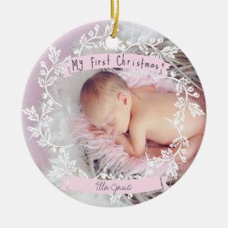 Enfeites de natal da foto do bebé primeiros