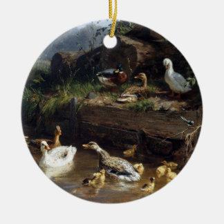 Enfeites de natal da lagoa dos pássaros do patinho