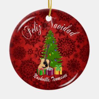 Enfeites de natal de Feliz Navidad Nashville