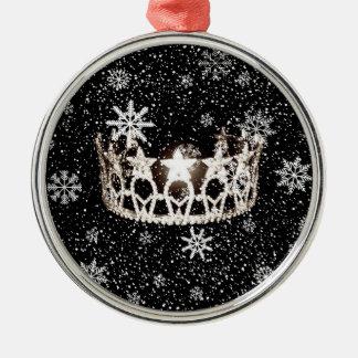 Enfeites de natal de prata da coroa da senhorita