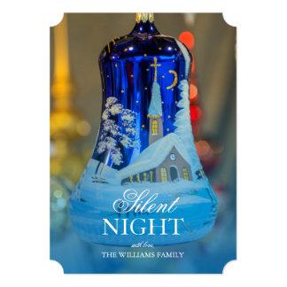 Enfeites de natal de vidro azuis pintados igreja convite 12.7 x 17.78cm