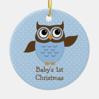 Enfeites de natal do bebê azul bonito da coruja os