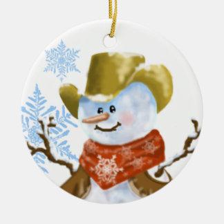 Enfeites de natal do boneco de neve do vaqueiro