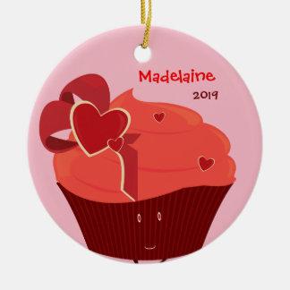 Enfeites de natal do cupcake do coração com nome &
