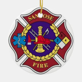 Enfeites de natal do departamento dos bombeiros