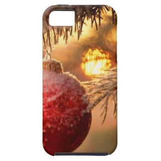 Enfeites de natal do fosco Nestled no pinho Capa Tough Para iPhone 5