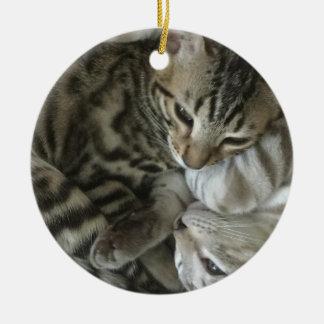 Enfeites de natal do gato de Bengal