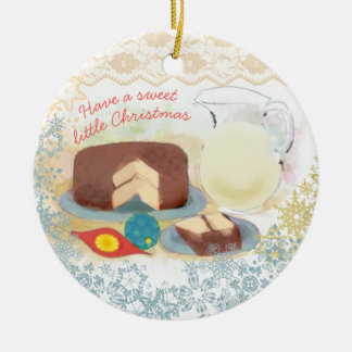 Enfeites de natal do leite do bolo de chocolate do