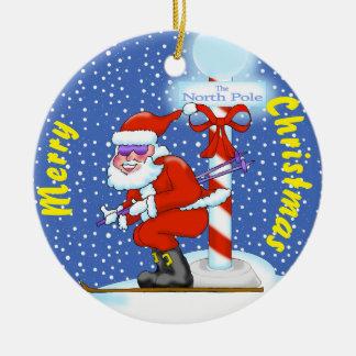 Enfeites de natal do papai noel do esqui