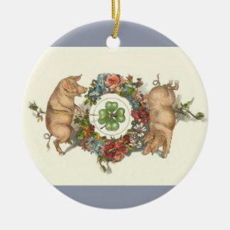 Enfeites de natal do Victorian - dois porcos com