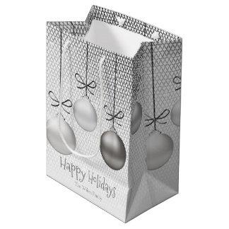 Enfeites de natal ID251 de prata Sacola Para Presentes Média
