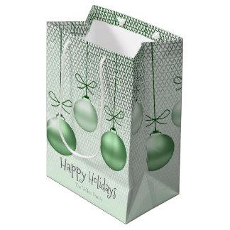 Enfeites de natal ID251 verde Sacola Para Presentes Média
