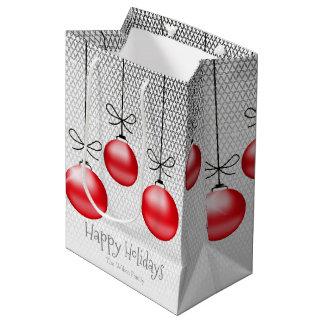 Enfeites de natal ID251 vermelho Sacola Para Presentes Média