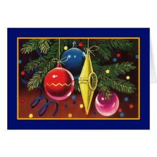 Enfeites de natal na árvore - cartão do vintage