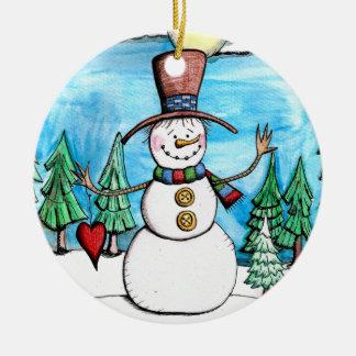 Enfeites de natal nevado do boneco de neve do dia