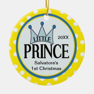 Enfeites de natal pequenos amarelos do príncipe Pr