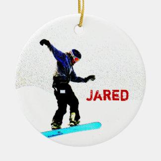 Enfeites de natal personalizados da snowboarding