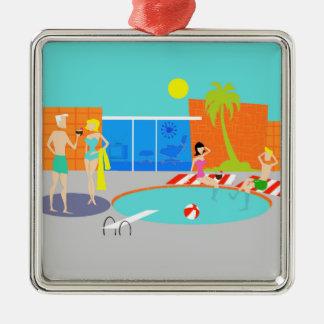 Enfeites de natal retros da festa na piscina