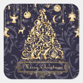 Enfeites de natal roxos e dourados bonitos adesivo quadrado