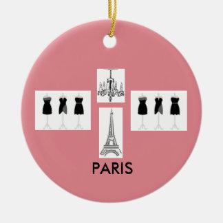 Enfeites de natal temáticos franceses cor-de-rosa