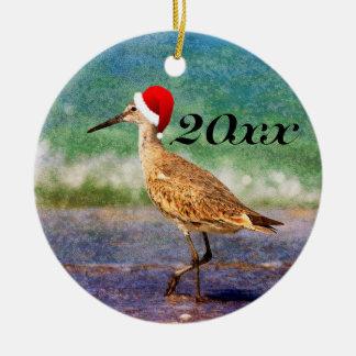 Enfeites de natal tropicais da praia do pássaro do