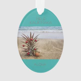 Enfeites de natal tropicais do abacaxi da praia