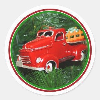 Enfeites de natal vermelhos do caminhão (4) adesivo redondo