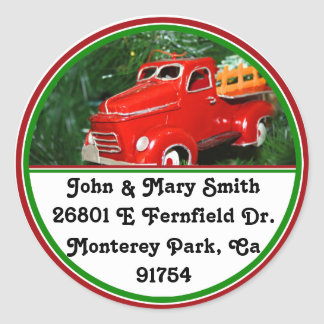 Enfeites de natal vermelhos do caminhão (4) adesivos redondos