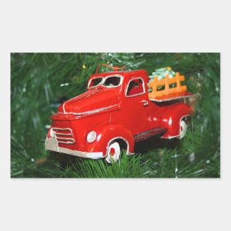 Enfeites de natal vermelhos do caminhão (4) adesivo retangular