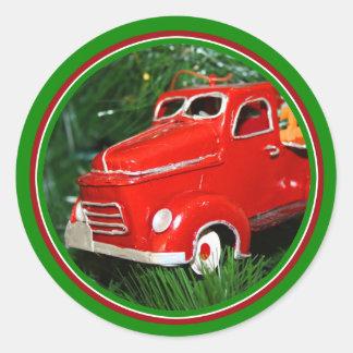 Enfeites de natal vermelhos do caminhão (4) adesivos em formato redondos