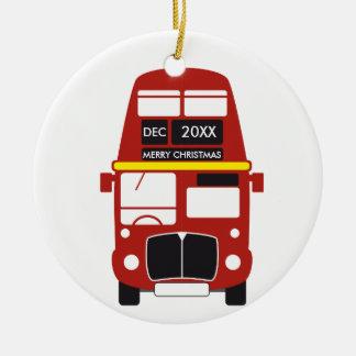 Enfeites de natal vermelhos do ônibus de Londres