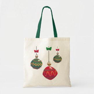 Enfeites de natal vermelhos e verdes retros bolsa tote