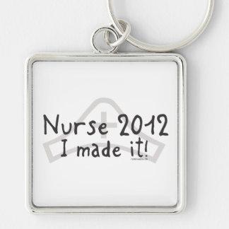 Enfermeira 2012 - Eu fi-lo! Chaveiro Quadrado Na Cor Prata