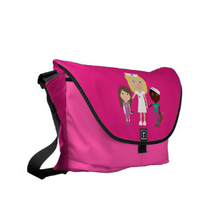 Enfermeira bonito dos desenhos animados & a bolsa bolsa mensageiro