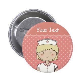 Enfermeira bonito dos desenhos animados (louro) bóton redondo 5.08cm