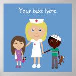 Enfermeira bonito dos desenhos animados & poster d