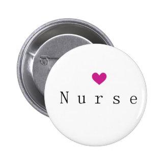 Enfermeira com coração cor-de-rosa bóton redondo 5.08cm
