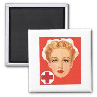 Enfermeira do vintage ímã quadrado