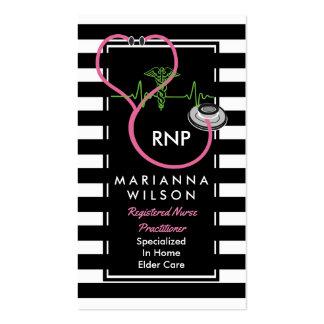 Enfermeira moderna das listras de BW que nutre Cartão De Visita