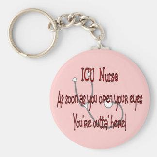 """Enfermeira """"olhos abertos de ICU você é Outt'a aqu Chaveiros"""