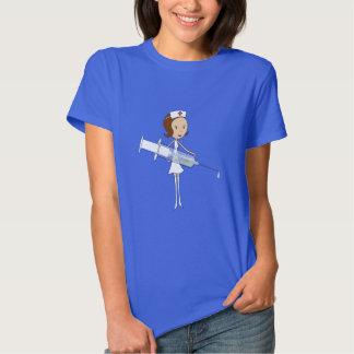 Enfermeira tradicional com a seringa Comically Tshirts