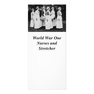 Enfermeiras da Primeira Guerra Mundial com maca Planfetos Informativos Coloridos