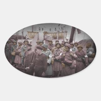 Enfermeiras do afro-americano no navio adesivos ovais