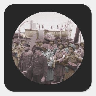 Enfermeiras do afro-americano no navio adesivo em forma quadrada