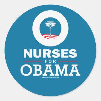 Enfermeiras para Obama Adesivos Em Formato Redondos